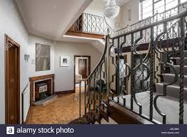 1930s Home Interiors Wrought Iron Banister On Staircase In 1930s Art Deco London Home