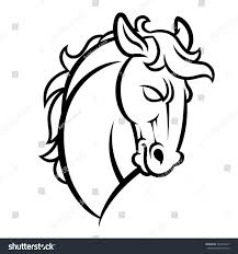mustang horse drawing mustang stallion horse head vector illustration stock vector