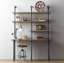 pipe desk with shelves industrial pipe desk and shelving stylishly industrious furniture