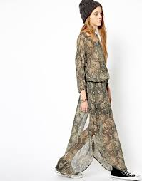 pepe jeans london paisley maxi dress in brown lyst