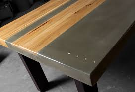 steel and wood table concrete wood steel dining kitchen table
