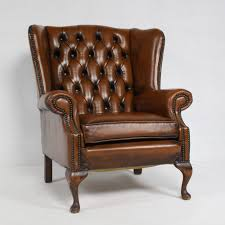 Leather Wing Back Chairs Chesterfield Leather Wing Back Chair Imperial England 1970s 63739