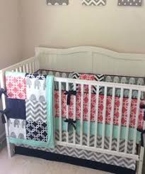 Navy And Coral Baby Bedding Coral Mint Navy And Gray Baby Curl Crib Bedding With Floral And