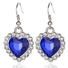 blue drop earrings 2018 rhinestone around imitation sapphire blue gem earring