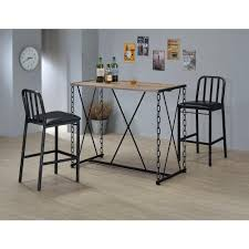 Pub Style Dining Room Set by Acme Furniture Jodie Rustic Oak Pub Bar Table 71990 The Home Depot