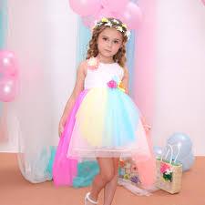 china rainbow color kids wedding dresses princess dresses for kids