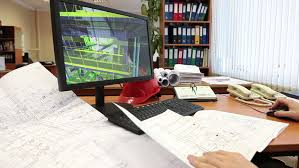 Model Building Desk Monitor Screen With 3d Model Of Industrial Plant Engineer Work
