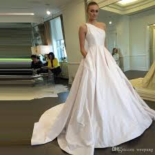 Discount Wedding Dress Discount Cheap 2017 A Line White Wedding Dresses One Shoulder With