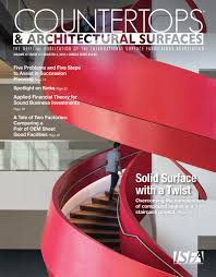 krion spiral staircase featured in isfa magazine asst
