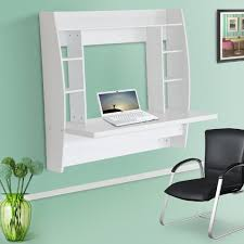 homcom wall mounted floating desk home office computer table study