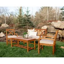 Edison Bistro Table Wood Patio Furniture Patio Conversation Sets Outdoor Lounge