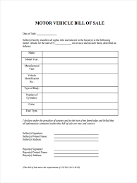 Free Motor Vehicle Bill Of Sale Form by 6 Motor Bill Of Sale Forms Free Documents In Word Pdf