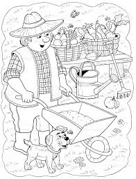 a farmer professions illustration for children coloring page funny
