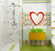 heart shaped sink with bright vanity for fun kids bathroom