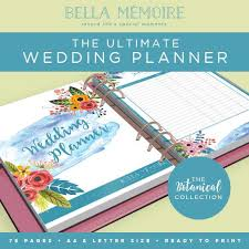 wedding organiser printable wedding planner botanical collection instant