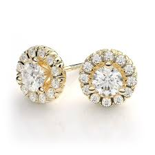 diamond earring studs 1 28ctw martini style halo diamond stud earrings in 18k yellow
