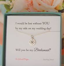 bridesmaids invitation boxes bridesmaid jewelry asking bridesmaids compass necklace will you