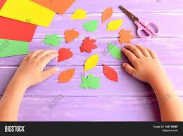 child cut out colored paper fall image u0026 photo bigstock
