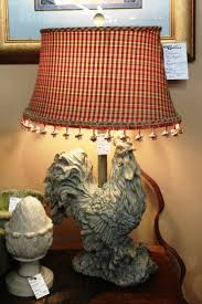 upscale rooster lamp with a custom lamp shade that cost twice the
