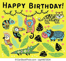 Jungle Birthday Card Cute Happy Birthday Card With Cartoon Animals In The Jungle