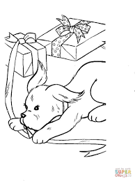 dog is playing with present boxes coloring page free printable