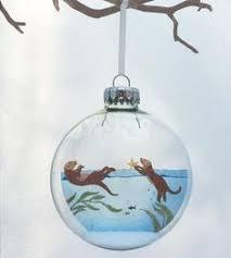 glass ornaments sea otter ornament noel