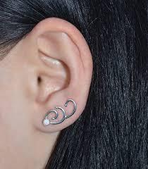 ear clasp 3mm white opal ear climber earrings sterling silver ear pins