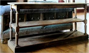 Barn Wood Sofa Table by Chesterfield Aged Pine Reclaimed Wood Three Tier Behind Couch
