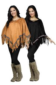 brand new suede look poncho native american indian costume