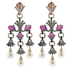 pearl chandelier earrings tenenbaum jewelersrubelite and cultured pearl chandelier earrings
