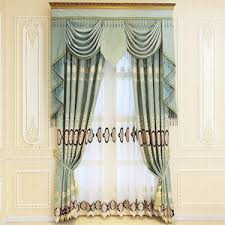 Contemporary Valance Curtains Blue Damask Embroidery Chenille Thermal Vintage Curtains For