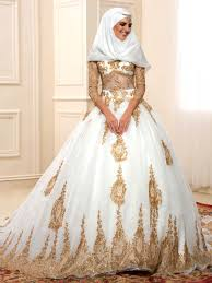 islamic wedding dresses luxurious golden sequins sleeves arabic muslim wedding dress