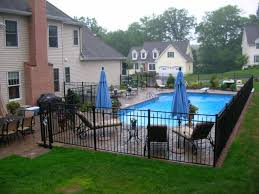 Backyard Swimming Pool Landscaping Ideas Traditional Swimming Pool With Fence Exterior Brick Floors Home