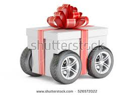 gift delivery row gift boxes on wheels delivery stock illustration 540765661