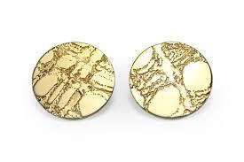 large stud earrings gold etched skin stud earrings lge 25mm gunn