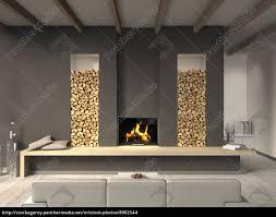 Wohnzimmer Design Mit Kamin Wohnzimmer Mit Kamin Und Balkendecke Lizenzfreies Foto