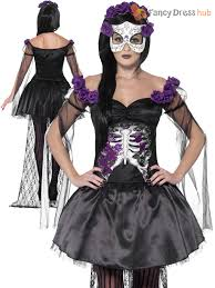 Ladies Skeleton Halloween Costume by Day Of The Dead Senorita Womens Halloween Fancy Dress Costume