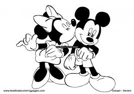 mickey and minnie kissing coloring pages