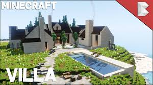 minecraft cliff side modern villa house with pool build tour