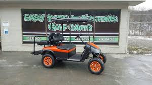 ezgo txt 48v electric orange and black matte custom golf cart