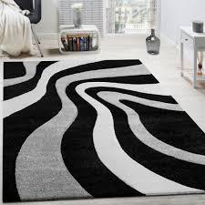 Wohnzimmer Schwarz Grau Rot Teppich Modern Wohnzimmer Kurzflor Wellen Design Weiß Grau Schwarz