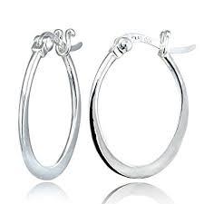 oval hoop earrings hoops loops sterling silver flat oval hoop earrings