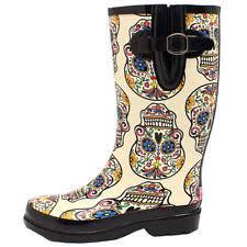 womens rubber boots size 9 m f womens sugar skull design toe leg
