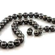 earring stud set mikimoto black pearl strand and earring stud set jt exchange