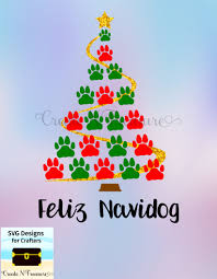 christmas tree svg dxf dog paw print cutting file for