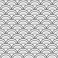 traditional japanese waves ornament in black and white seamless
