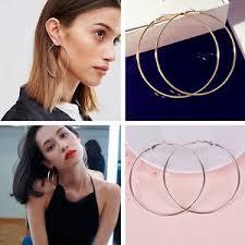 large hoop earrings 8cm 10cm gold silver women metal smooth big large hoop