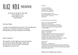 Photography Resume Template Resume For Photographer Photography Template Free Cv 2013