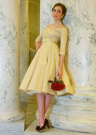 Yellow Dresses For Weddings Tea Length Wedding Dresses The Finest Custom Fit