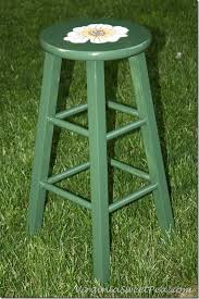 floral painted bar stool sweet pea